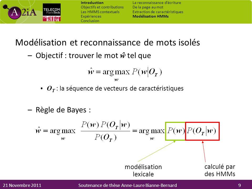 21 Novembre 2011Soutenance de thèse Anne-Laure Bianne-Bernard Modélisation et reconnaissance de mots isolés –Objectif : trouver le mot ŵ tel que O T :