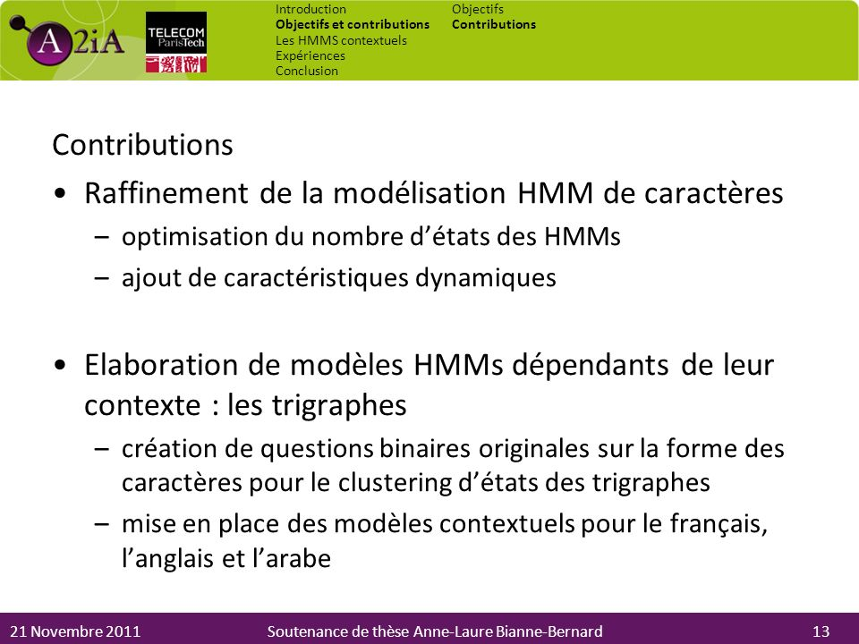 21 Novembre 2011Soutenance de thèse Anne-Laure Bianne-Bernard Contributions Raffinement de la modélisation HMM de caractères –optimisation du nombre d