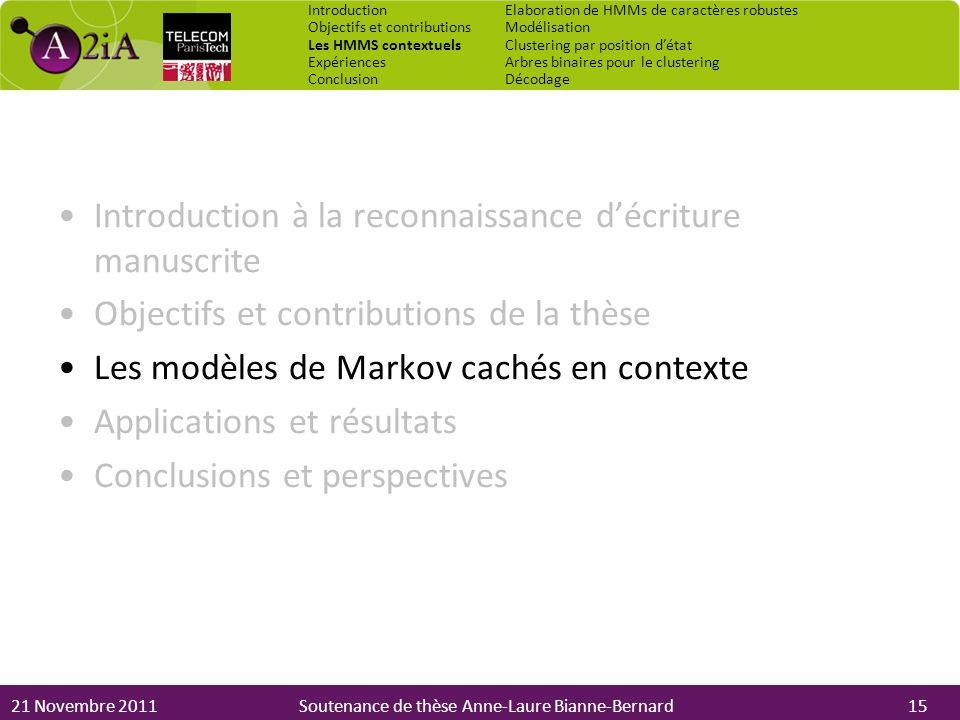 21 Novembre 2011Soutenance de thèse Anne-Laure Bianne-Bernard Introduction à la reconnaissance décriture manuscrite Objectifs et contributions de la t