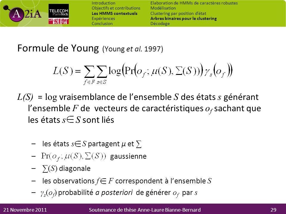 21 Novembre 2011Soutenance de thèse Anne-Laure Bianne-Bernard Formule de Young (Young et al. 1997) L(S) = log vraisemblance de lensemble S des états s
