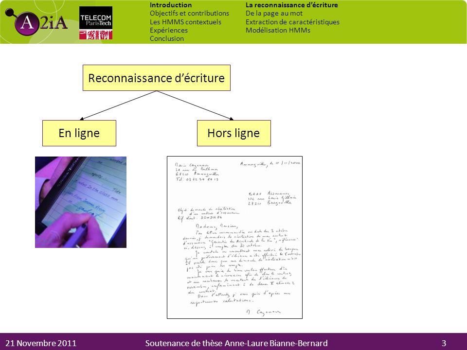 21 Novembre 2011Soutenance de thèse Anne-Laure Bianne-Bernard Reconnaissance décriture Hors ligneEn ligne 3 Introduction Objectifs et contributions Le