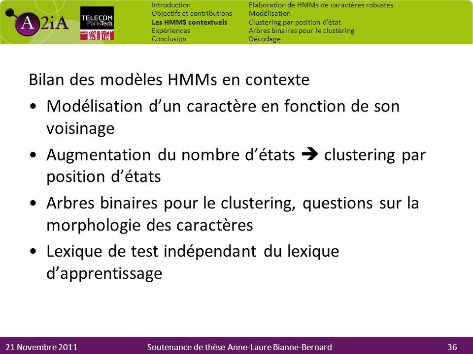 21 Novembre 2011Soutenance de thèse Anne-Laure Bianne-Bernard Bilan des modèles HMMs en contexte Modélisation dun caractère en fonction de son voisina