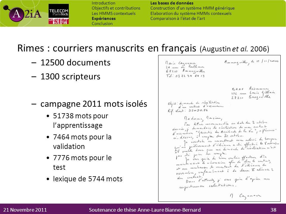 21 Novembre 2011Soutenance de thèse Anne-Laure Bianne-Bernard Rimes : courriers manuscrits en français (Augustin et al. 2006) –12500 documents –1300 s