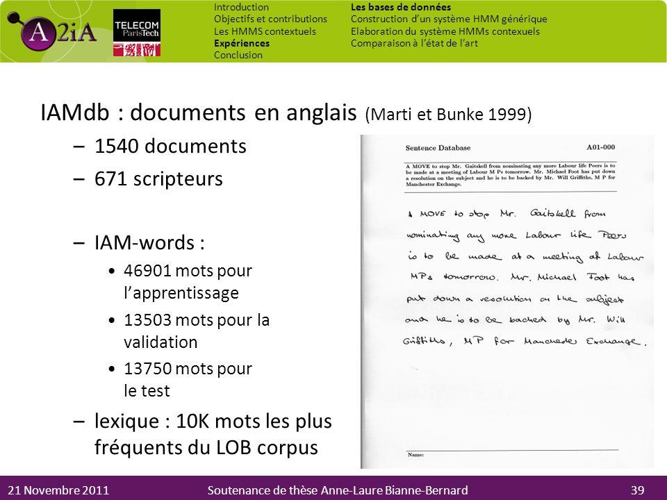 21 Novembre 2011Soutenance de thèse Anne-Laure Bianne-Bernard IAMdb : documents en anglais (Marti et Bunke 1999) –1540 documents –671 scripteurs –IAM-