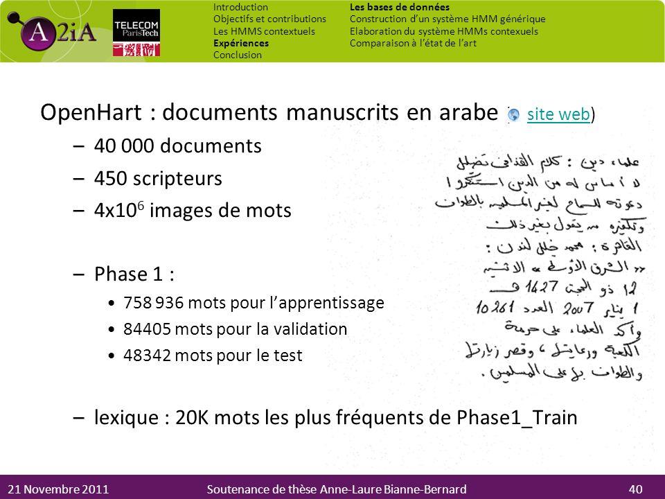 21 Novembre 2011Soutenance de thèse Anne-Laure Bianne-Bernard OpenHart : documents manuscrits en arabe ( site web)site web –40 000 documents –450 scri