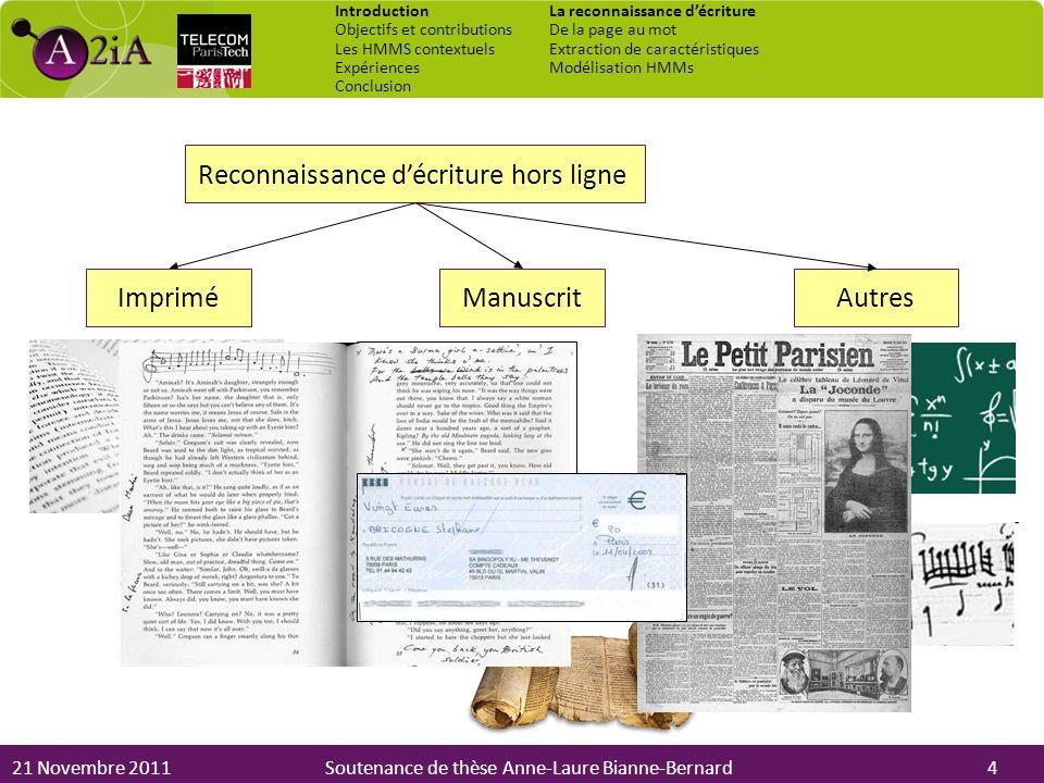 21 Novembre 2011Soutenance de thèse Anne-Laure Bianne-Bernard Reconnaissance décriture hors ligne ImpriméManuscritAutres 4 Introduction Objectifs et c