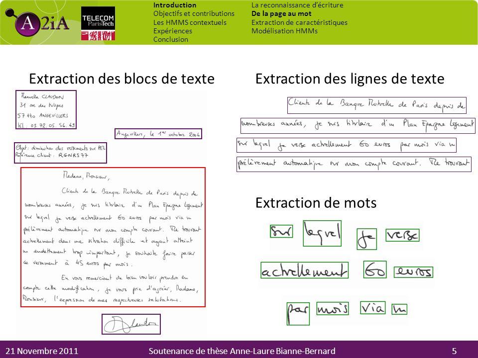 21 Novembre 2011Soutenance de thèse Anne-Laure Bianne-Bernard Extraction des blocs de texteExtraction des lignes de texte Extraction de mots 5 Introdu