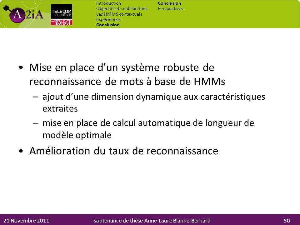 21 Novembre 2011Soutenance de thèse Anne-Laure Bianne-Bernard Mise en place dun système robuste de reconnaissance de mots à base de HMMs –ajout dune d
