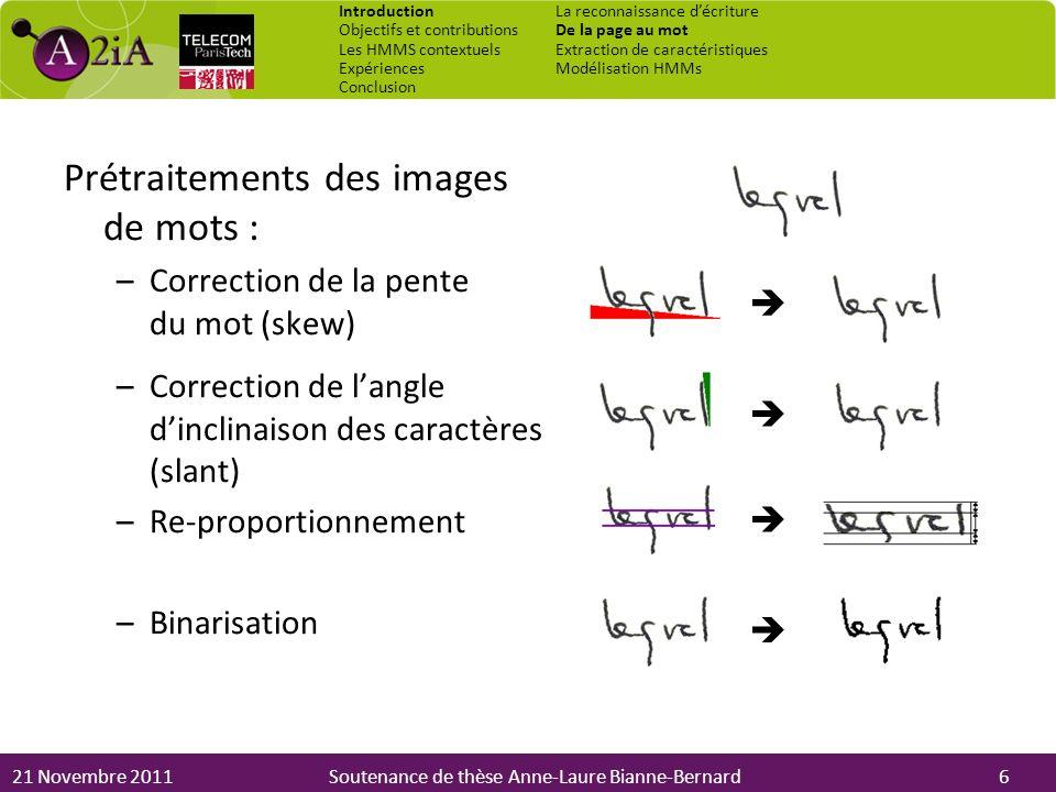 21 Novembre 2011Soutenance de thèse Anne-Laure Bianne-Bernard Prétraitements des images de mots : –Correction de la pente du mot (skew) –Correction de