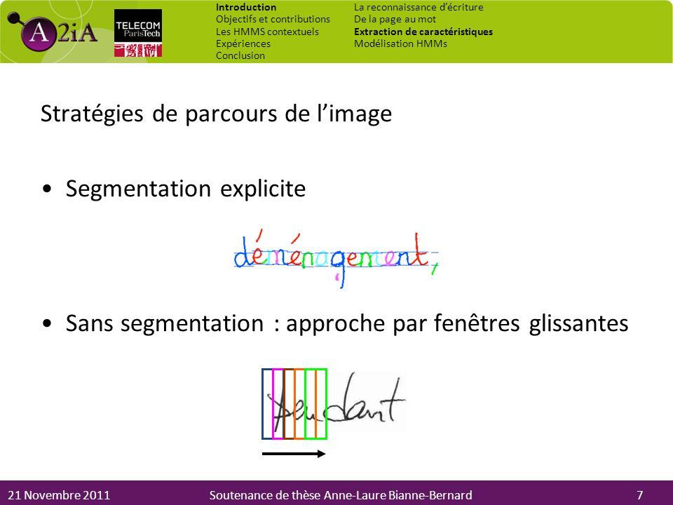21 Novembre 2011Soutenance de thèse Anne-Laure Bianne-Bernard Stratégies de parcours de limage Segmentation explicite Sans segmentation : approche par