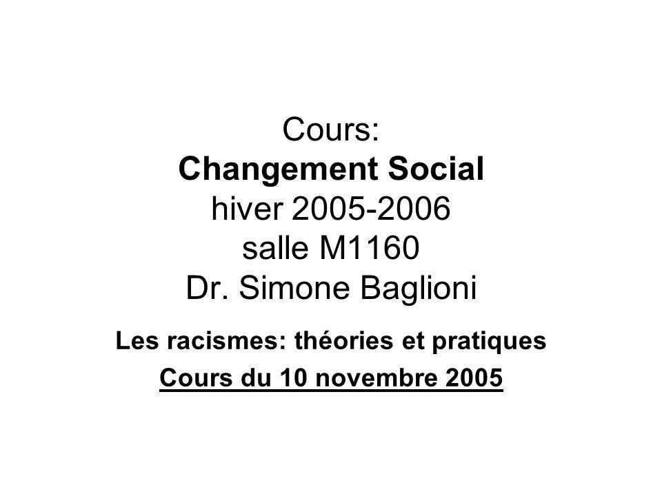 Cours: Changement Social hiver 2005-2006 salle M1160 Dr. Simone Baglioni Les racismes: théories et pratiques Cours du 10 novembre 2005