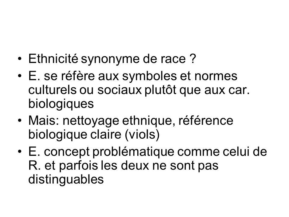 Ethnicité synonyme de race ? E. se réfère aux symboles et normes culturels ou sociaux plutôt que aux car. biologiques Mais: nettoyage ethnique, référe