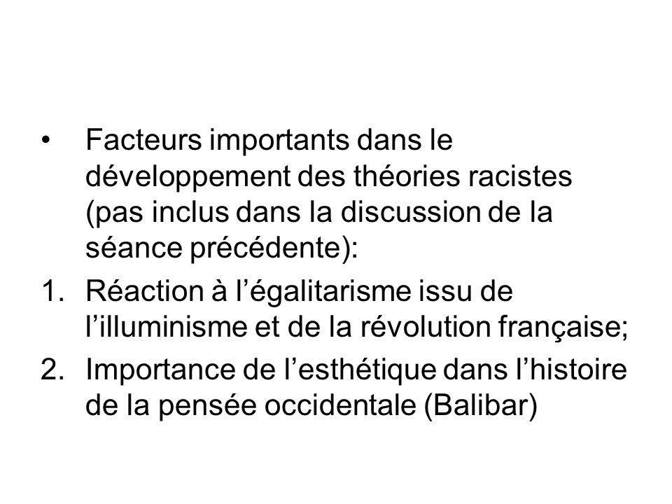 Facteurs importants dans le développement des théories racistes (pas inclus dans la discussion de la séance précédente): 1.Réaction à légalitarisme is