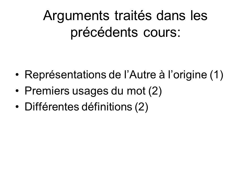 Arguments traités dans les précédents cours: Représentations de lAutre à lorigine (1) Premiers usages du mot (2) Différentes définitions (2)