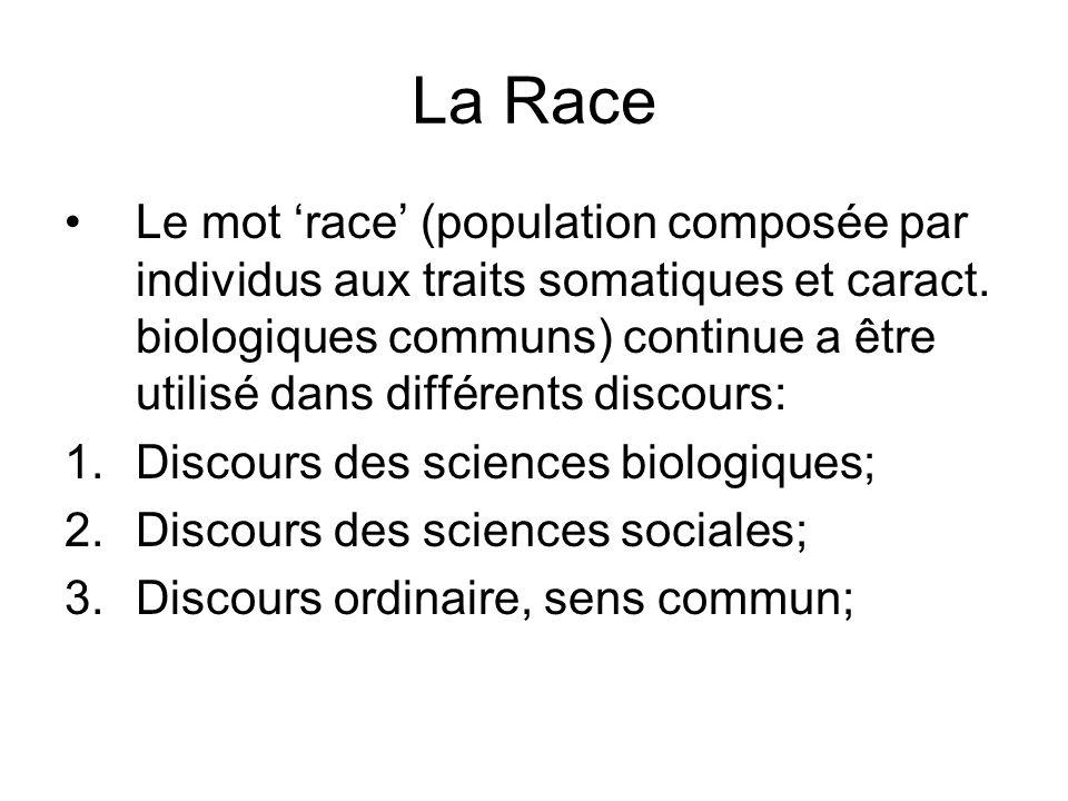 La Race Le mot race (population composée par individus aux traits somatiques et caract. biologiques communs) continue a être utilisé dans différents d