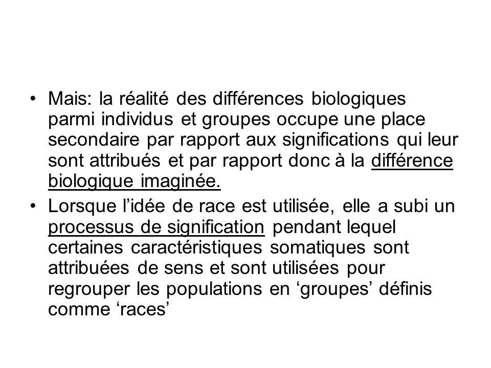 Mais: la réalité des différences biologiques parmi individus et groupes occupe une place secondaire par rapport aux significations qui leur sont attri