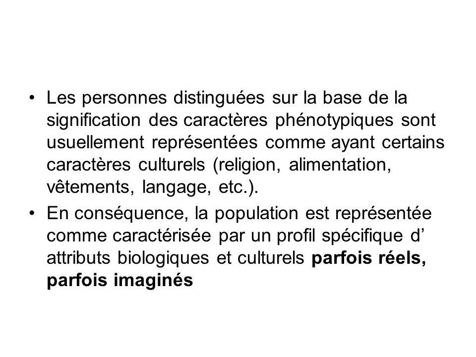 Les personnes distinguées sur la base de la signification des caractères phénotypiques sont usuellement représentées comme ayant certains caractères c