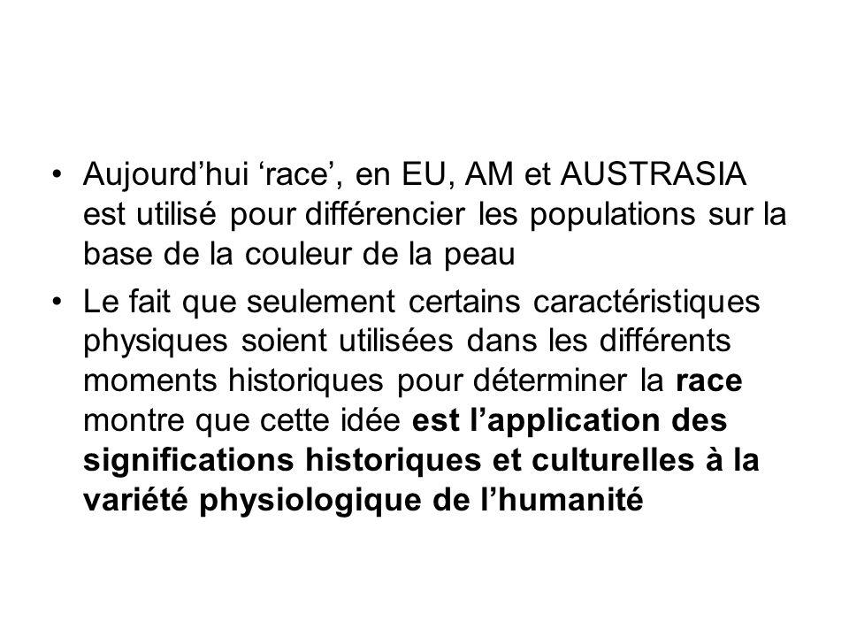 Aujourdhui race, en EU, AM et AUSTRASIA est utilisé pour différencier les populations sur la base de la couleur de la peau Le fait que seulement certa