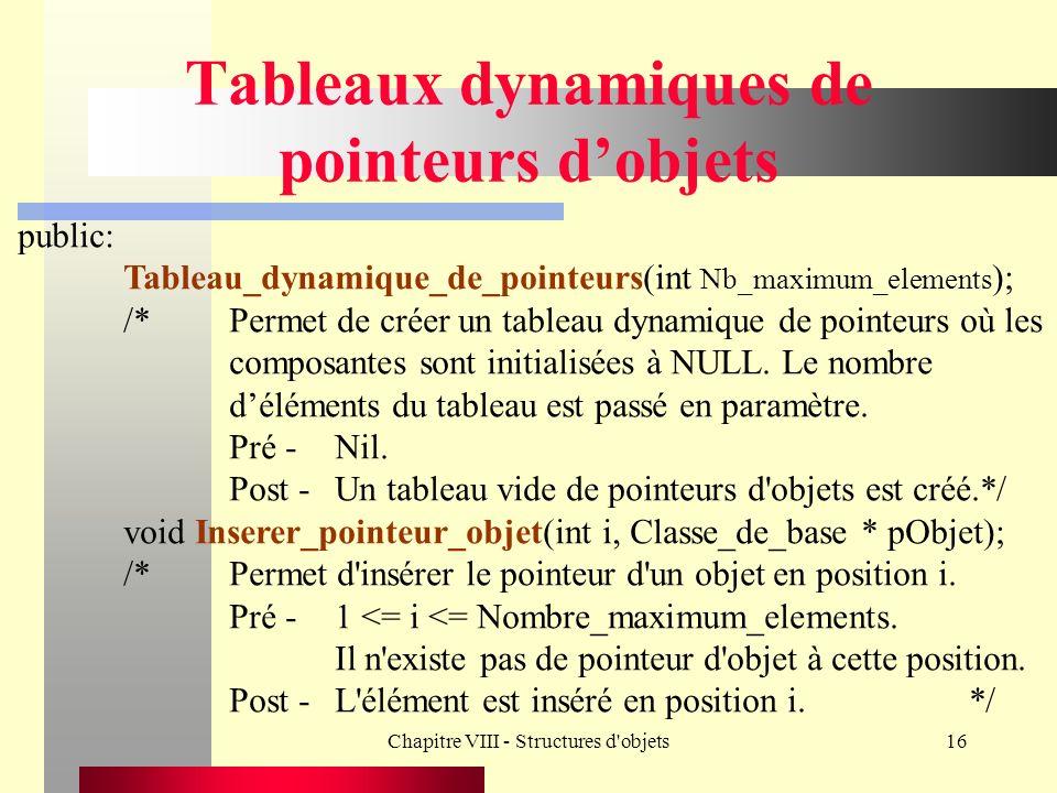 Chapitre VIII - Structures d objets16 Tableaux dynamiques de pointeurs dobjets public: Tableau_dynamique_de_pointeurs(int Nb_maximum_elements ); /*Permet de créer un tableau dynamique de pointeurs où les composantes sont initialisées à NULL.