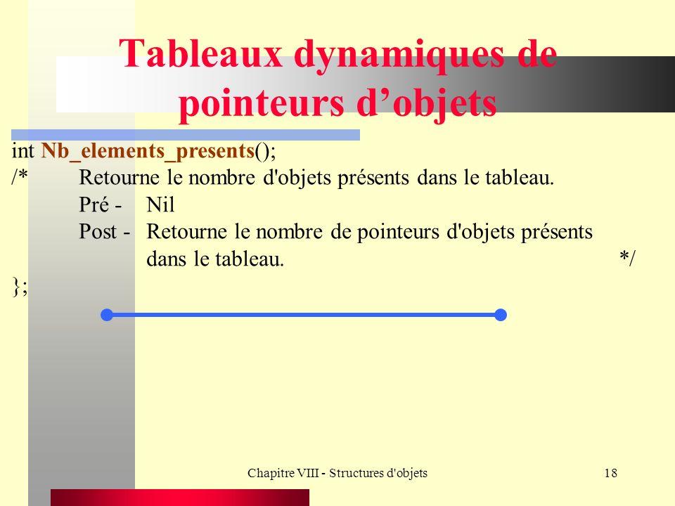 Chapitre VIII - Structures d objets18 Tableaux dynamiques de pointeurs dobjets int Nb_elements_presents(); /*Retourne le nombre d objets présents dans le tableau.