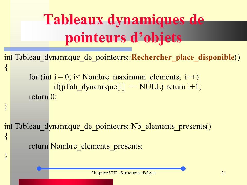 Chapitre VIII - Structures d objets21 Tableaux dynamiques de pointeurs dobjets int Tableau_dynamique_de_pointeurs::Rechercher_place_disponible() { for (int i = 0; i< Nombre_maximum_elements; i++) if(pTab_dynamique[i] == NULL) return i+1; return 0; } int Tableau_dynamique_de_pointeurs::Nb_elements_presents() { return Nombre_elements_presents; }