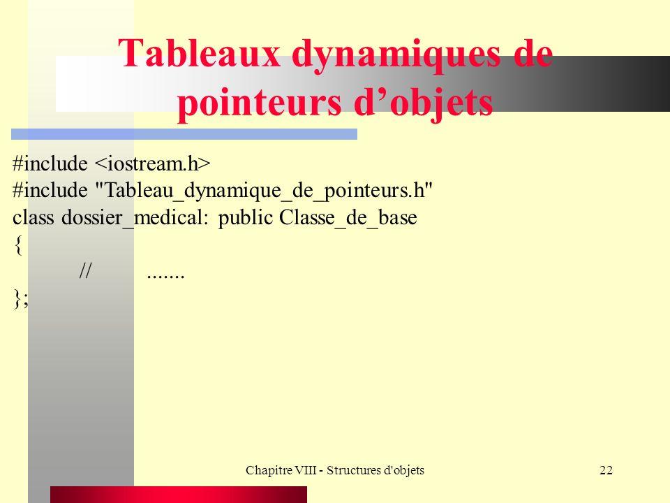Chapitre VIII - Structures d objets22 Tableaux dynamiques de pointeurs dobjets #include #include Tableau_dynamique_de_pointeurs.h class dossier_medical: public Classe_de_base { //.......