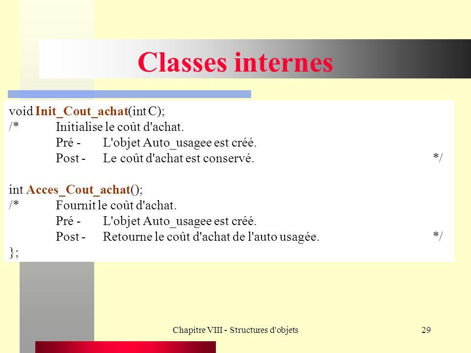 Chapitre VIII - Structures d objets29 Classes internes void Init_Cout_achat(int C); /*Initialise le coût d achat.