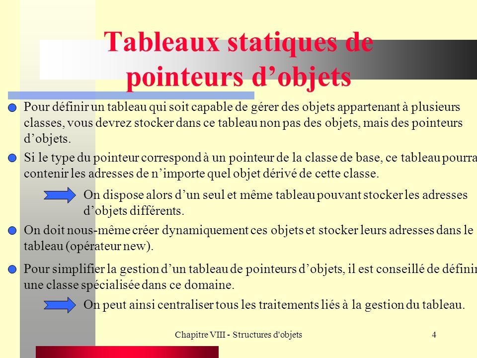 Chapitre VIII - Structures d objets4 Tableaux statiques de pointeurs dobjets Pour définir un tableau qui soit capable de gérer des objets appartenant à plusieurs classes, vous devrez stocker dans ce tableau non pas des objets, mais des pointeurs dobjets.
