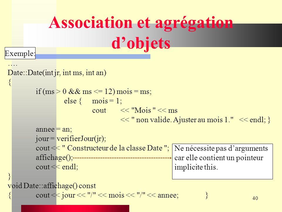 40 Association et agrégation dobjets Exemple: ….