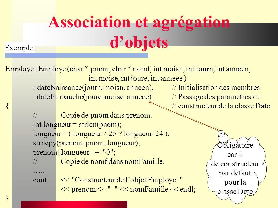 43 Association et agrégation dobjets Exemple: …..