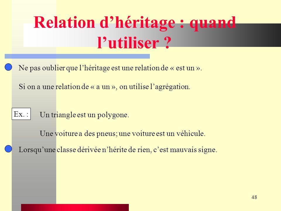 48 Relation dhéritage : quand lutiliser .