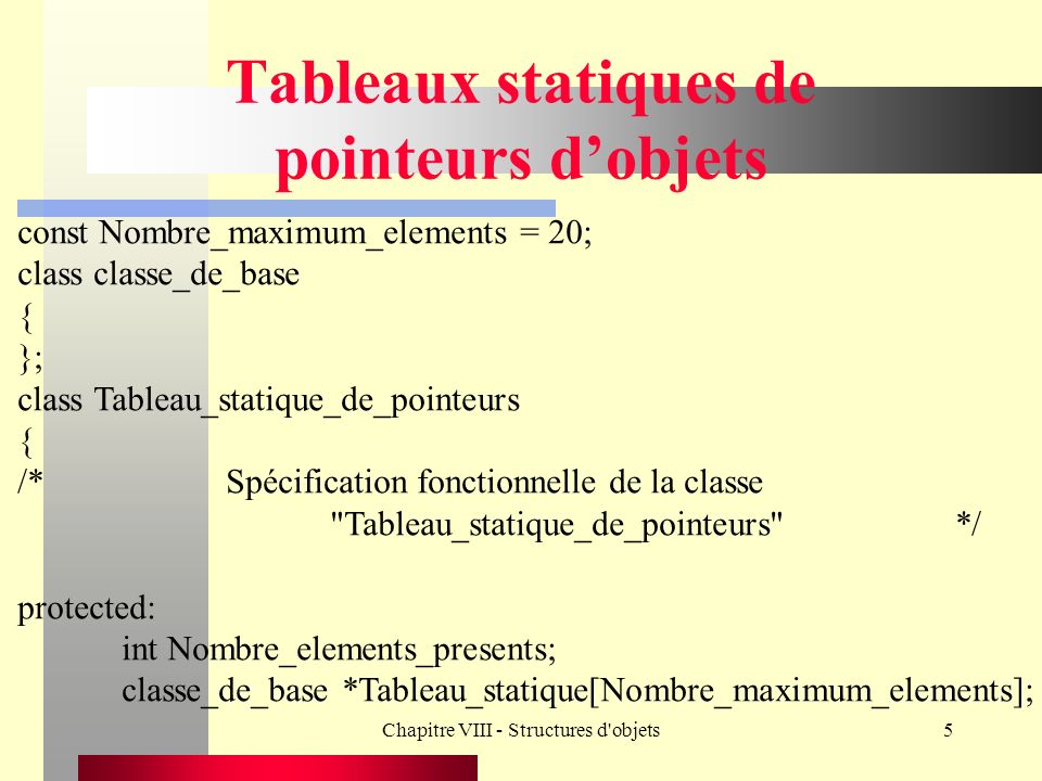 Chapitre VIII - Structures d objets5 Tableaux statiques de pointeurs dobjets const Nombre_maximum_elements = 20; class classe_de_base { }; class Tableau_statique_de_pointeurs { /*Spécification fonctionnelle de la classe Tableau_statique_de_pointeurs */ protected: int Nombre_elements_presents; classe_de_base *Tableau_statique[Nombre_maximum_elements];