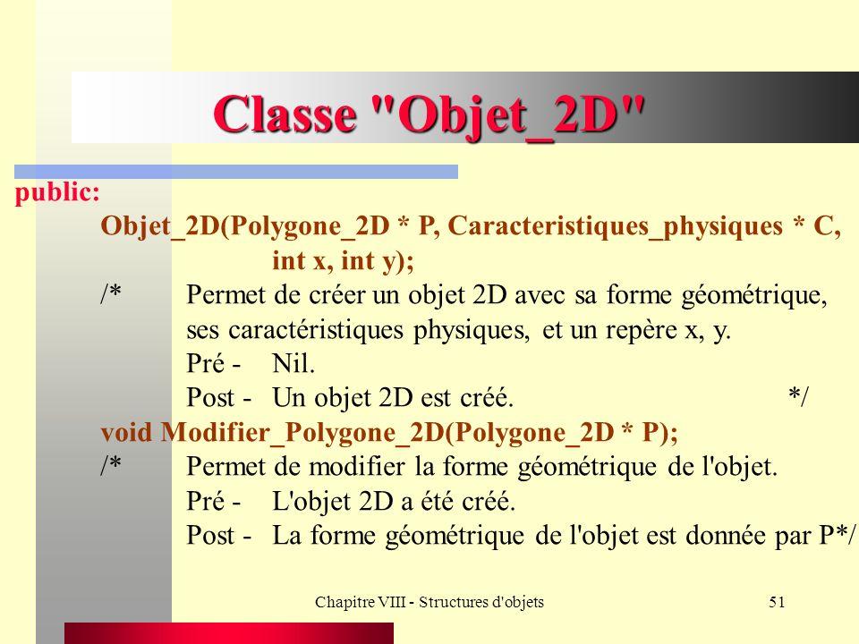 Chapitre VIII - Structures d objets51 Classe Objet_2D public: Objet_2D(Polygone_2D * P, Caracteristiques_physiques * C, int x, int y); /*Permet de créer un objet 2D avec sa forme géométrique, ses caractéristiques physiques, et un repère x, y.