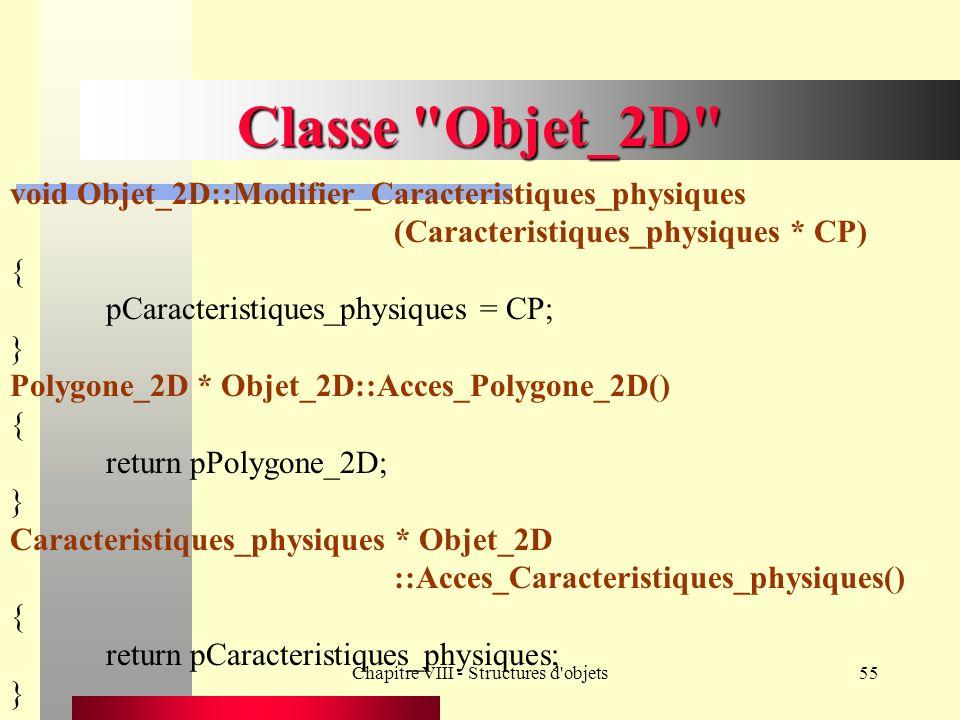 Chapitre VIII - Structures d objets55 Classe Objet_2D void Objet_2D::Modifier_Caracteristiques_physiques (Caracteristiques_physiques * CP) { pCaracteristiques_physiques = CP; } Polygone_2D * Objet_2D::Acces_Polygone_2D() { return pPolygone_2D; } Caracteristiques_physiques * Objet_2D ::Acces_Caracteristiques_physiques() { return pCaracteristiques_physiques; }