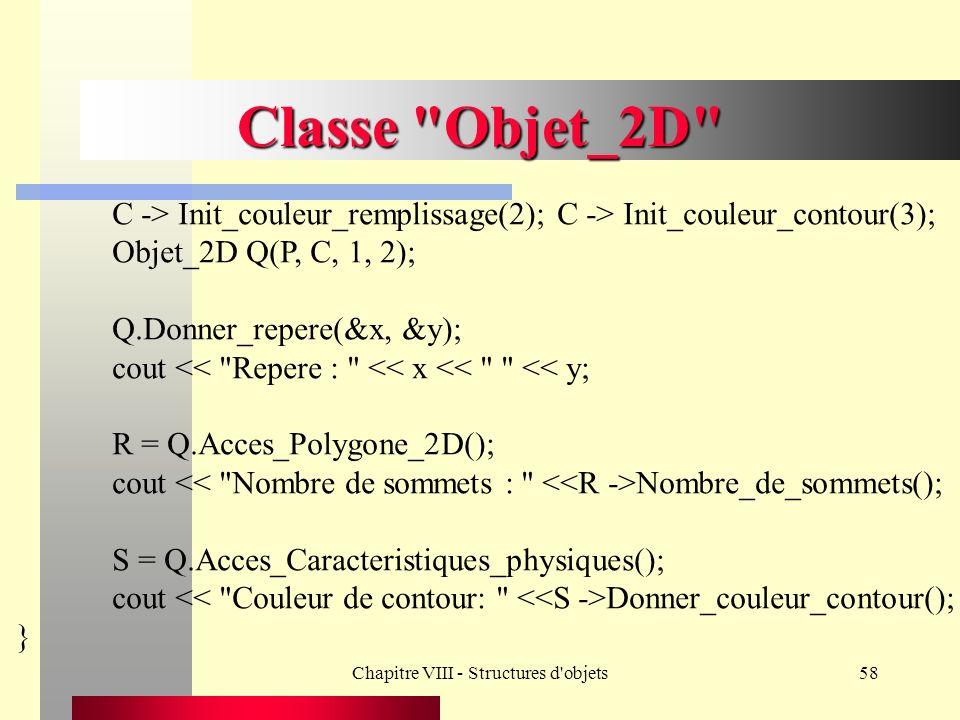 Chapitre VIII - Structures d objets58 Classe Objet_2D C -> Init_couleur_remplissage(2); C -> Init_couleur_contour(3); Objet_2D Q(P, C, 1, 2); Q.Donner_repere(&x, &y); cout << Repere : << x << << y; R = Q.Acces_Polygone_2D(); cout Nombre_de_sommets(); S = Q.Acces_Caracteristiques_physiques(); cout Donner_couleur_contour(); }