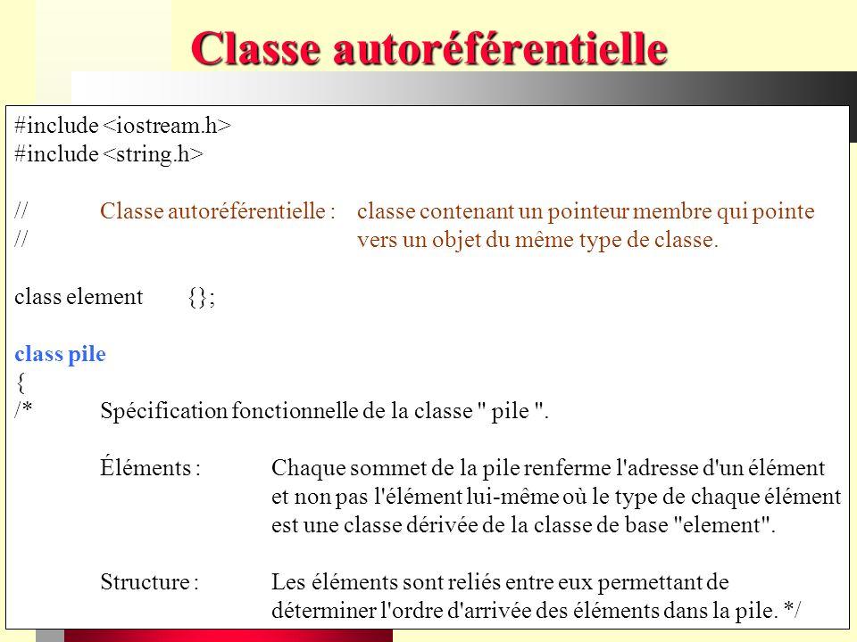 Chapitre VIII - Structures d objets59 Classe autoréférentielle #include //Classe autoréférentielle :classe contenant un pointeur membre qui pointe //vers un objet du même type de classe.