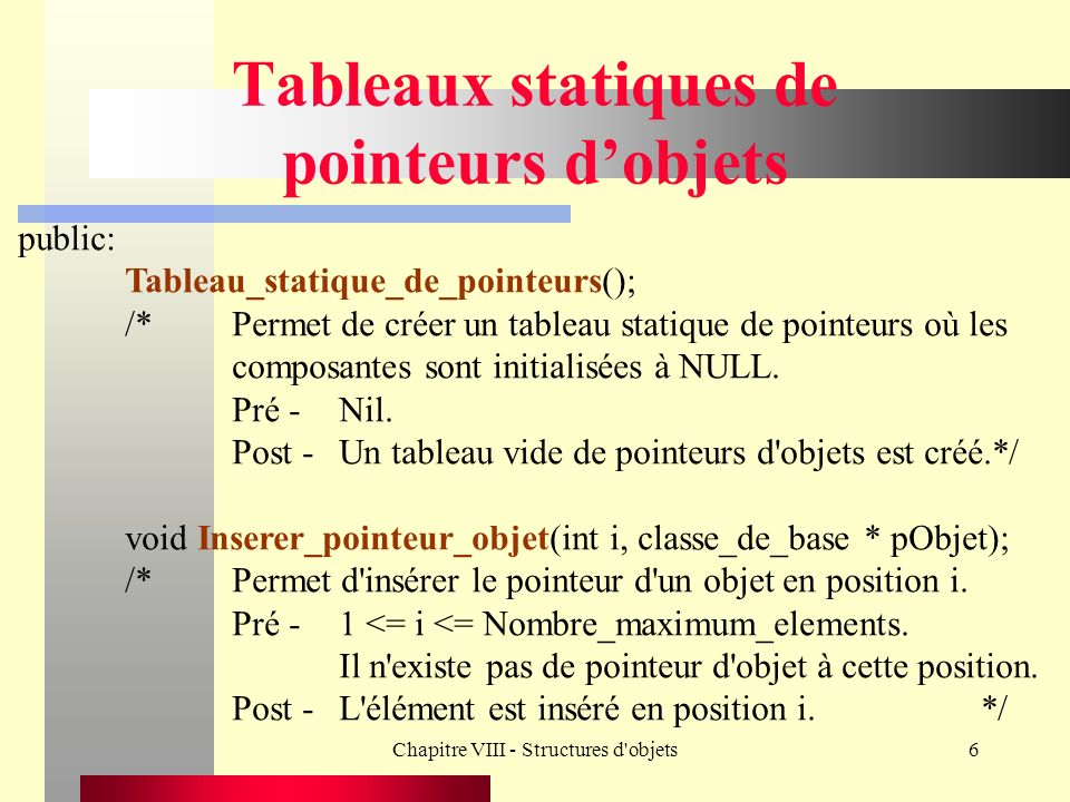 Chapitre VIII - Structures d objets17 Tableaux dynamiques de pointeurs dobjets Classe_de_base * Enlever_pointeur_objet(int i); /*Permet s il existe d enlever l objet en position i du tableau et de retourner son adresse.