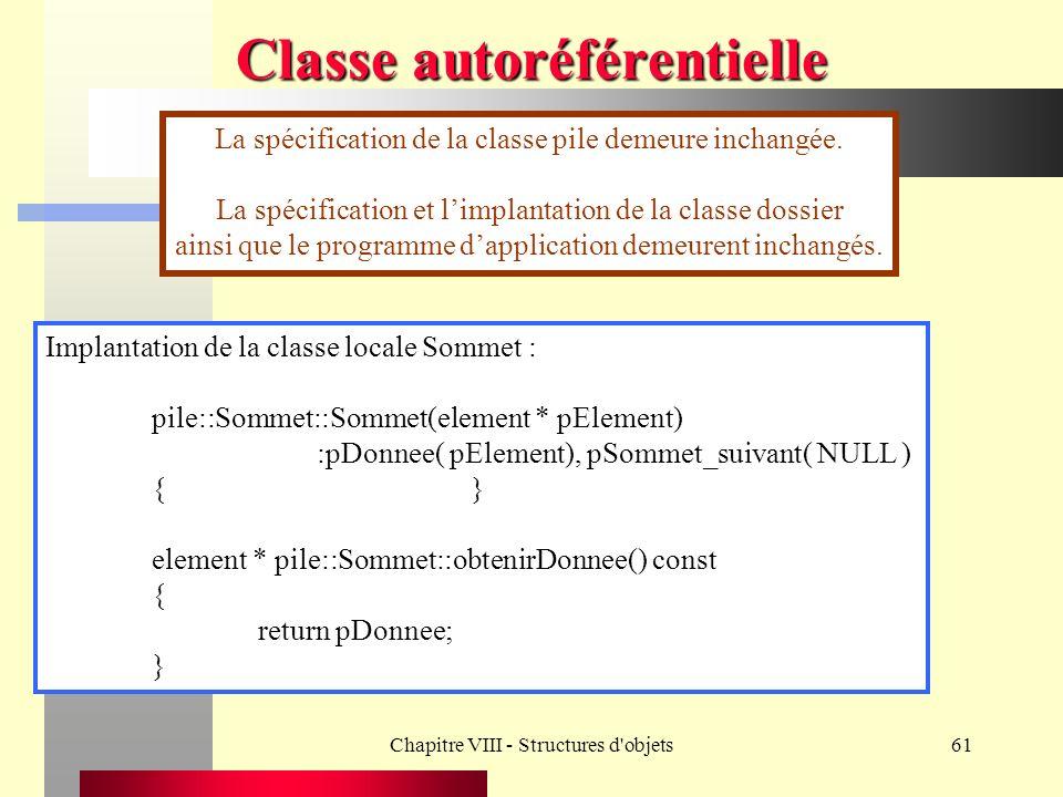 Chapitre VIII - Structures d objets61 Classe autoréférentielle La spécification de la classe pile demeure inchangée.