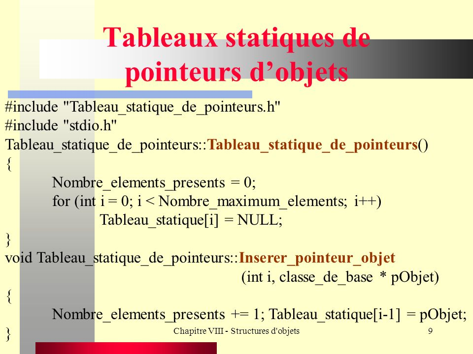 Chapitre VIII - Structures d objets20 Tableaux dynamiques de pointeurs dobjets void Tableau_dynamique_de_pointeurs::Inserer_pointeur_objet (int i, Classe_de_base * pObjet) { Nombre_elements_presents += 1; pTab_dynamique[i-1] = pObjet; } Classe_de_base * Tableau_dynamique_de_pointeurs:: Enlever_pointeur_objet(int i) {Classe_de_base * p; if (pTab_dynamique[i-1] != NULL) Nombre_elements_presents -= 1; p = pTab_dynamique[i-1]; pTab_dynamique[i-1] = NULL; return p; }