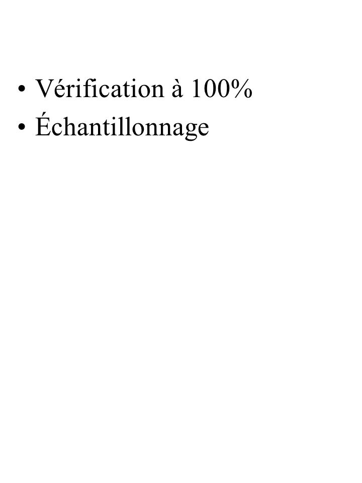 Vérification à 100% Échantillonnage