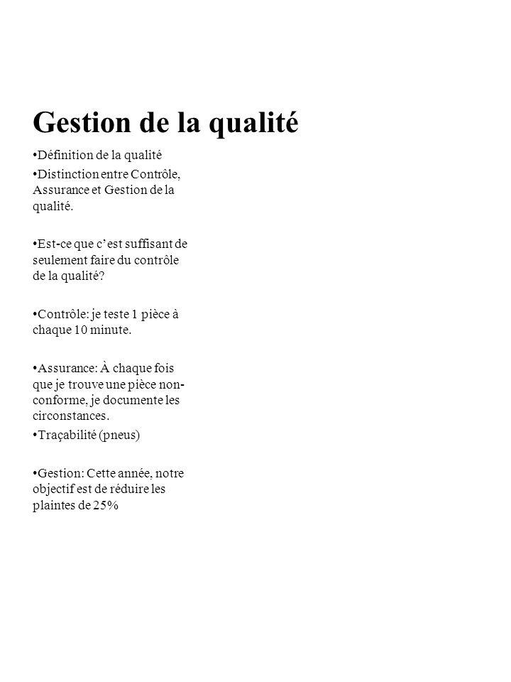 Gestion de la qualité Définition de la qualité Distinction entre Contrôle, Assurance et Gestion de la qualité.