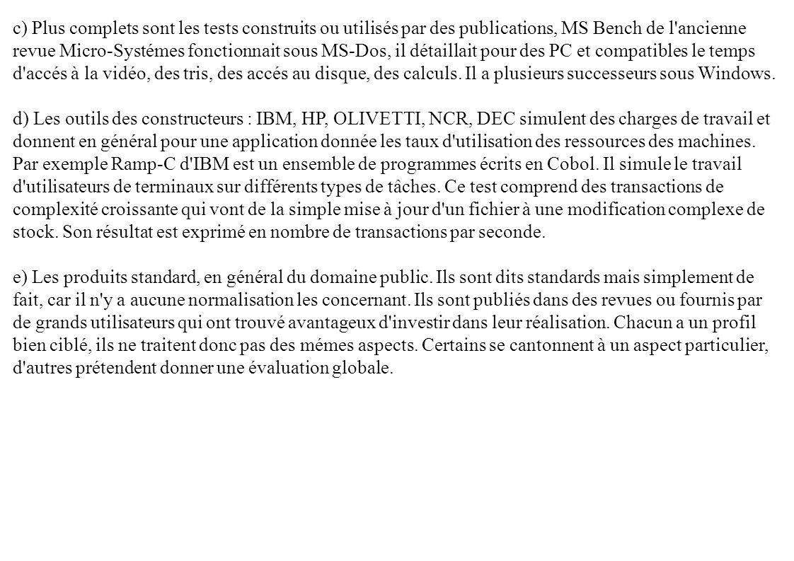 c) Plus complets sont les tests construits ou utilisés par des publications, MS Bench de l'ancienne revue Micro-Systémes fonctionnait sous MS-Dos, il