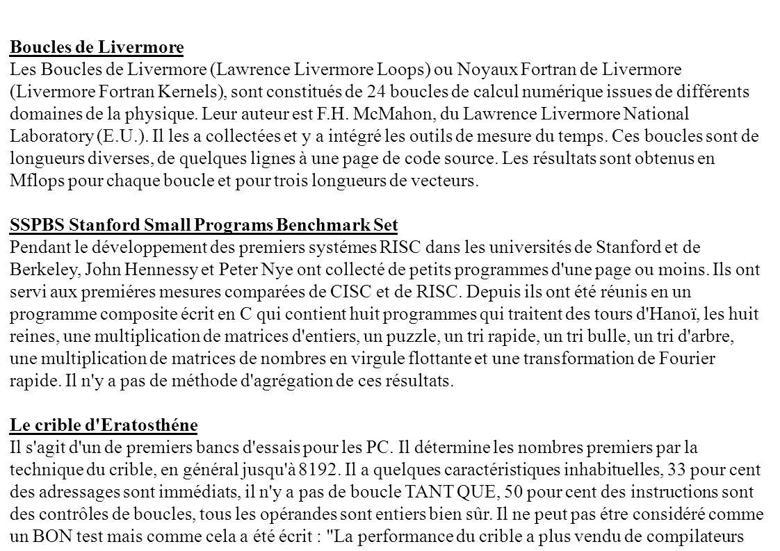 Boucles de Livermore Les Boucles de Livermore (Lawrence Livermore Loops) ou Noyaux Fortran de Livermore (Livermore Fortran Kernels), sont constitués d