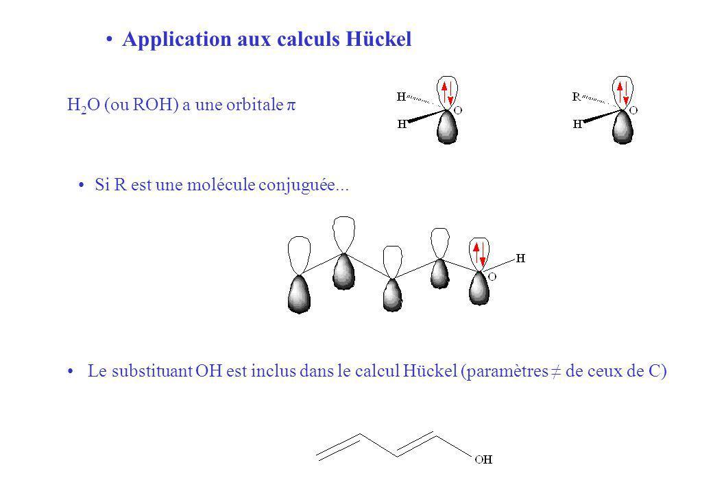 Application aux calculs Hückel Si R est une molécule conjuguée...