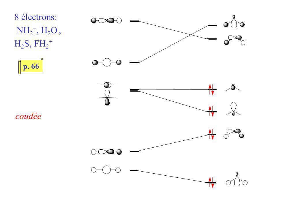 8 électrons: NH 2 –, H 2 O, H 2 S, FH 2 + coudée p. 66