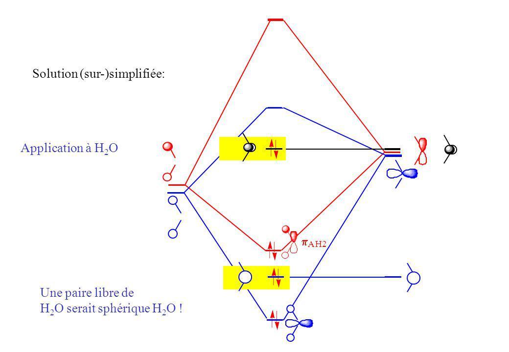 Application à H 2 O Une paire libre de H 2 O serait sphérique H 2 O .