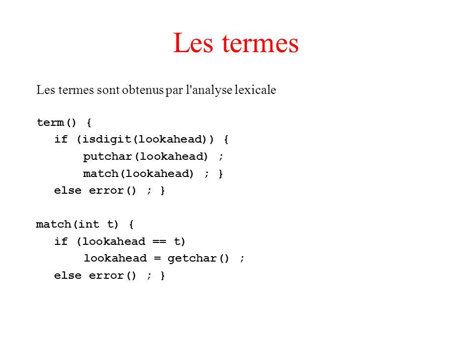 Les termes Les termes sont obtenus par l'analyse lexicale term() { if (isdigit(lookahead)) { putchar(lookahead) ; match(lookahead) ; } else error() ;