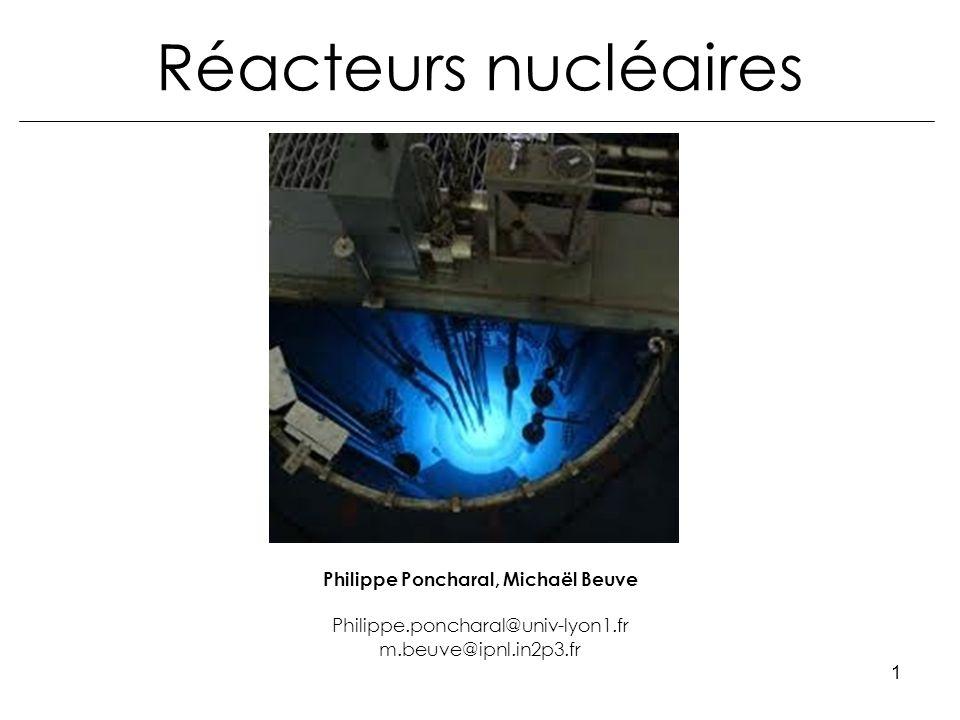 Réacteurs nucléaires2 Objectifs –Une solide introduction à la physique des réacteurs –Une vue densemble : du fonctionnement dune centrale Le cycle du combustible, de la fusion nucléaire (techniques numériques de calculs neutroniques non traitées) Débouchés en M2 –« Environnement Atmosphère et Radioprotection »(Lyon) –« Synthèse Vieillissement et Caract.