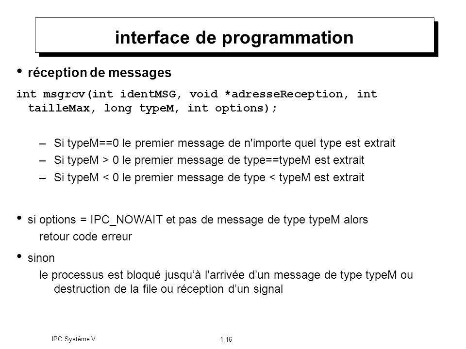 IPC Système V 1.16 interface de programmation réception de messages int msgrcv(int identMSG, void *adresseReception, int tailleMax, long typeM, int op