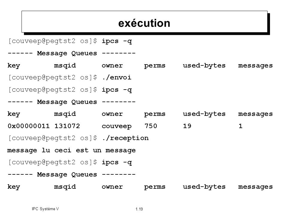 IPC Système V 1.19 exécution [couveep@pegtst2 os]$ ipcs -q ------ Message Queues -------- key msqid owner perms used-bytes messages [couveep@pegtst2 o